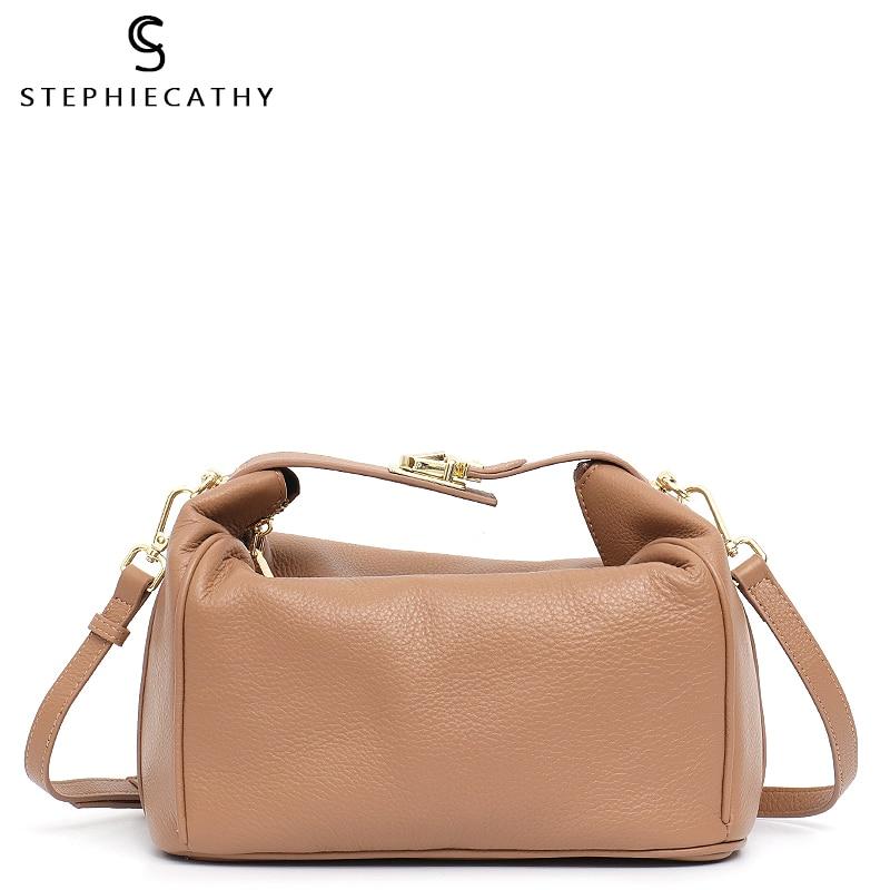 SC Soft Genuine Leather Women Top-handle Bucket Luxury Leather Messenger Shoulder Bag Ladies Fashion Hobo Metal Lock Pillow Bag