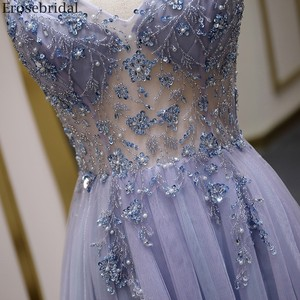Image 5 - Erosebridal Sexy Illusion Long Prom Dress 2020 Luxury Beads A Line Long Formal Women Evening Gown Party Dress Front Split V Neck