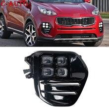 Car Front LED Daytime Running Lamp DRL Headlight Fog Lights Driving Signal Lamp For KIA Sportage QL KX5 2016 2018 car styling