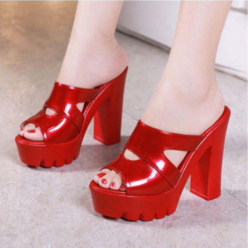Women Slippers Sexy Ladies Summer Pumps Woman Square High Heels Female Fashion Open Toe Shoes Woman Casual Sexy 2020 New