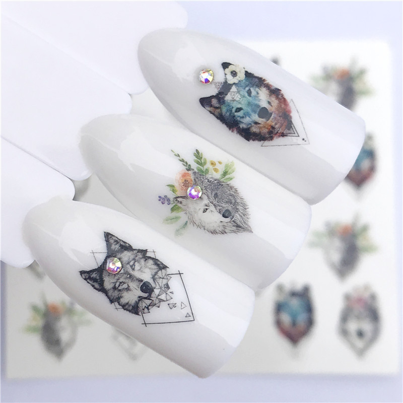 2018 AliExpress Wish Hot Selling Christmas Nail Sticker Wolf Flowers Nail Ornament YZW3077