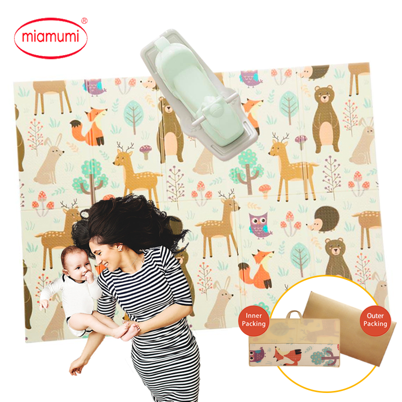 Miamumi Play Mat XPE Soft Playmat Baby Foldable Crawling Mat Kids Game Pad Rug Folding Blanket 1CM Thick Mats 150*200cm 59*78IN
