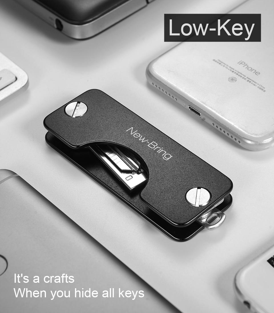 NewBring Key Wallets Aluminum Metallic EDC Men Car Key Holder Smart Housekeeper New Design EDC Keys Organizer Keychain Bag Purse