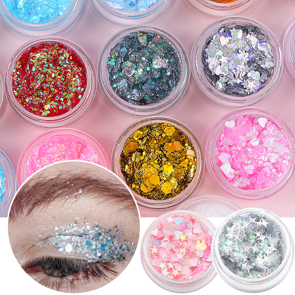 1Pcs Glitter Glam Eye Sparkly Glitter Hair Shimmer Gel Flash Heart Loose Sequins Glitter Eyeshadow Party Face Body Decoration