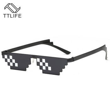 TTLIFE Funny Glasses Men Thug Life Sunglasses Mosaic Masculine 8 Bits Style Pixel Ridiculous Accessory Black Polygonal Oculos цена 2017