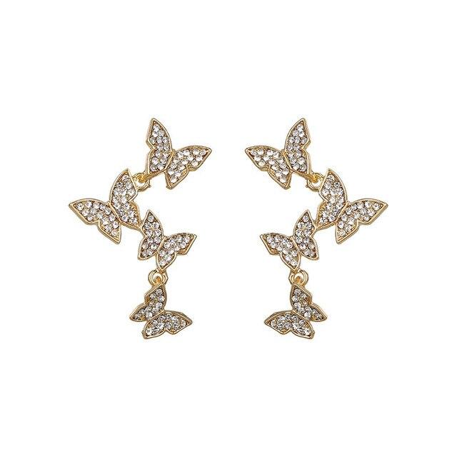 CZ Zircon 4 Butterfly Stud Earrings For Women 2020 Summer Style Charming Korean Eardrop Earrings Top.jpg 640x640 - CZ Zircon 4 Butterfly Stud Earrings For Women 2020 Summer Style Charming Korean Eardrop Earrings Top Quality