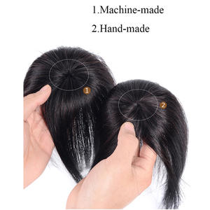 Toupee Hairpiece Topper Human-Hair-Extensions Clip-In Natural Straight Women with Bangs