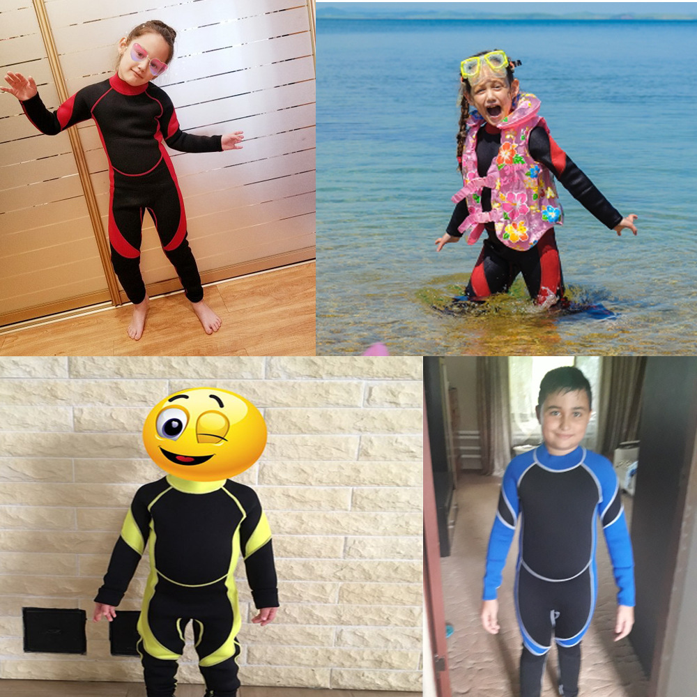 Export Thick 3 Mm Children Diving Suit Long Sleeve One-piece Students Swimming Suit Winter Swimming Weatherization Sun-resistant