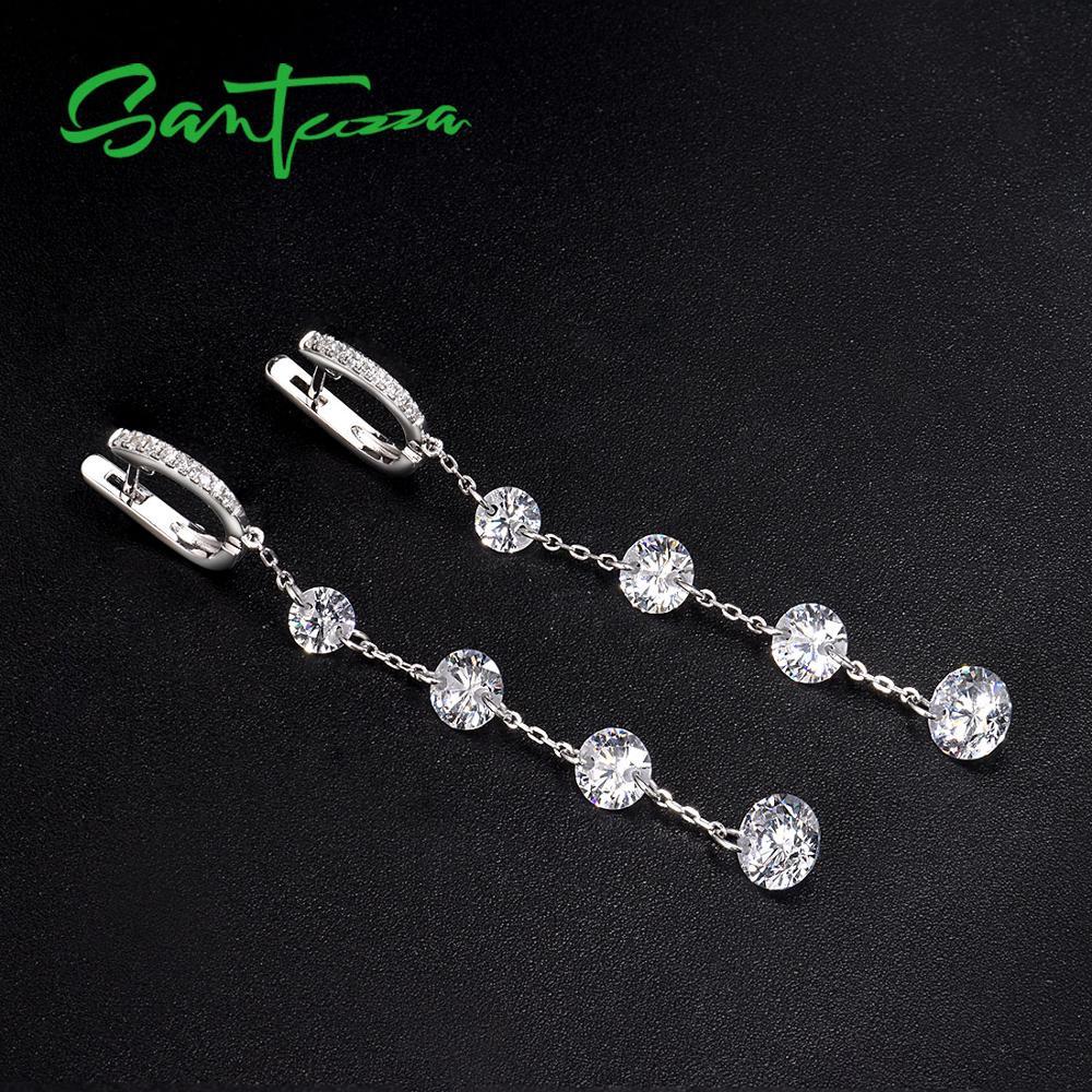 SANTUZZA Silver Earrings For Women Pure 925 Sterling Silver Shiny White Cubic Zirconia Long Drop Earrings Elegant Fine Jewelry