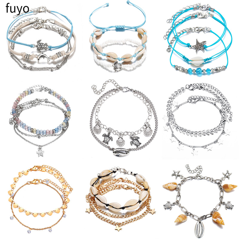 Bohemian Anklet Set For Women Nature Shell Heart Star Anklets 2019 Bracelet On Leg Barefoot DIY Foot Jewelry Beach Accessories