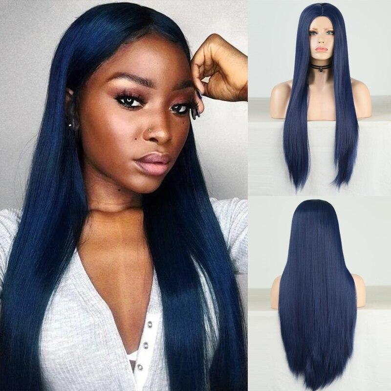 Carisma azul escuro peruca longa reta cabelo em camadas resistente ao calor cosplay festa peruca sintética para mulher