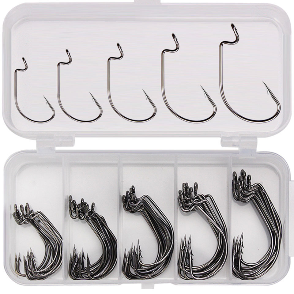 50PCS Wide Crank Ice Fishing Hooks 3/0# 2# Carbon Steel Offset Fishhook Bass Barbed Carp Fishing Hook For Soft Worm Lure|Fishhooks| - AliExpress