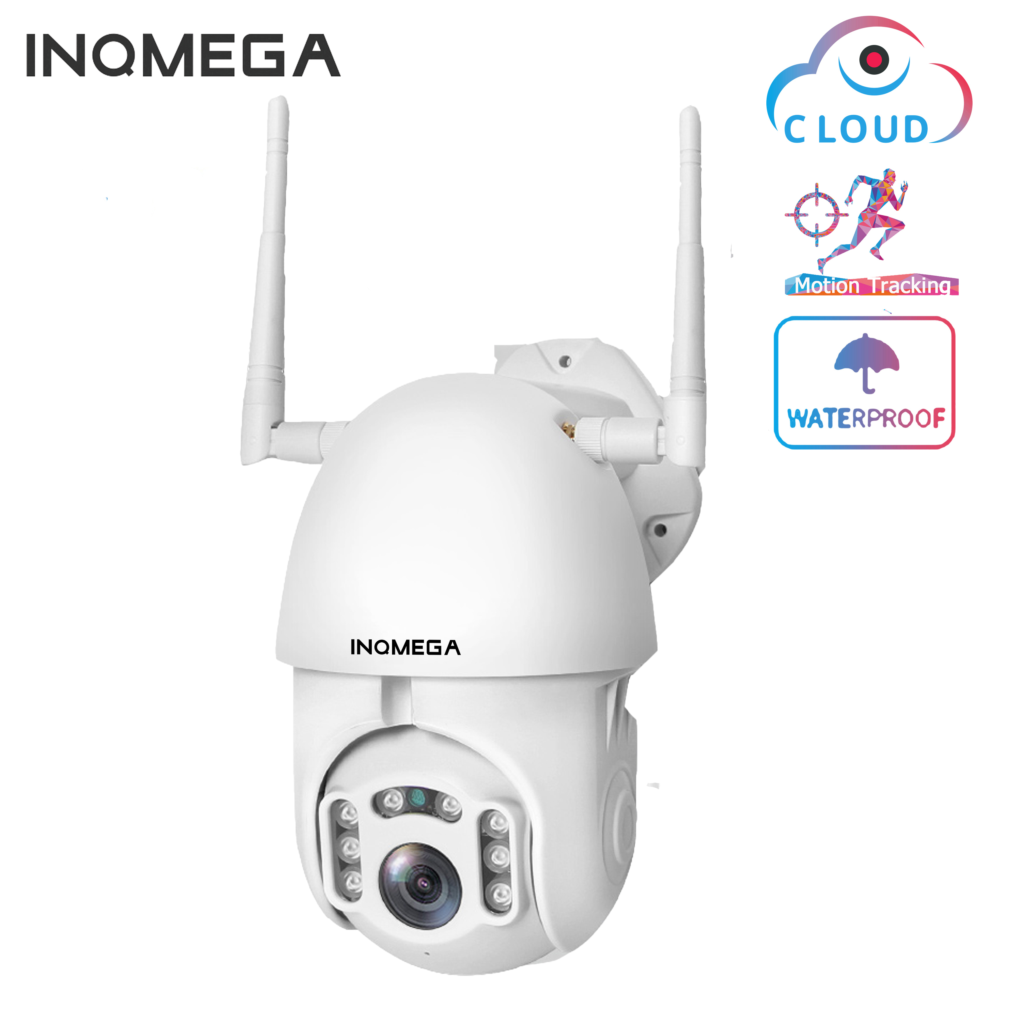 INQMEGA IP Camera WiFi 1080P Wireless Auto Tracking PTZ Speed Dome Camera Outdoor CCTV Security Surveillance Waterproof Camera