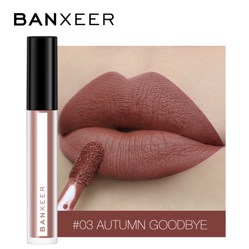 BANXEER Lipgloss Matte 8 Colors Lip Gloss Velvety Lipstick Liquid Matte Waterproof Lip Tint Full & Rich Sexy Lip Makeup Cosmetic