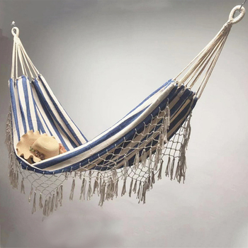 Thicken Canvas Hammock Sleeping Hanging Swing Chair Outdoor Travel Camping Tassel Bed Foldable Double Garden - discount item  30% OFF Outdoor Furniture
