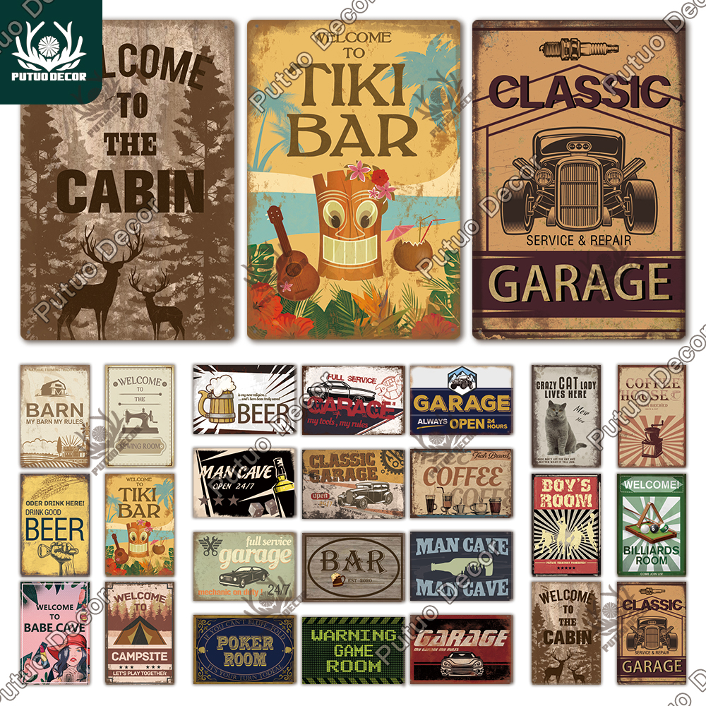 TIKI Bar Metal Poster Plaque Metal Vintage Metal Sign Tin Sign Wall Decor for Barn Room Man Cave Garage Iron Painting(China)