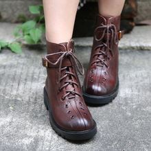 Original High-end Genuine Leather Women Boots Handmade Retro Buckle Martin Boots Round Toe Cross-tied Handsome Ankle Boots krazing pot new sheep genuine leather wedges leisure sole round buckle work boots streetwear high fashion women ankle boots l3f1