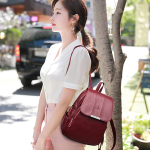 Image 3 - Womens Soft Leather Backpack High Quality Female Bagpack School Bags for Teenage Girls Large CTravel Backpack Mochila Mujer 2019