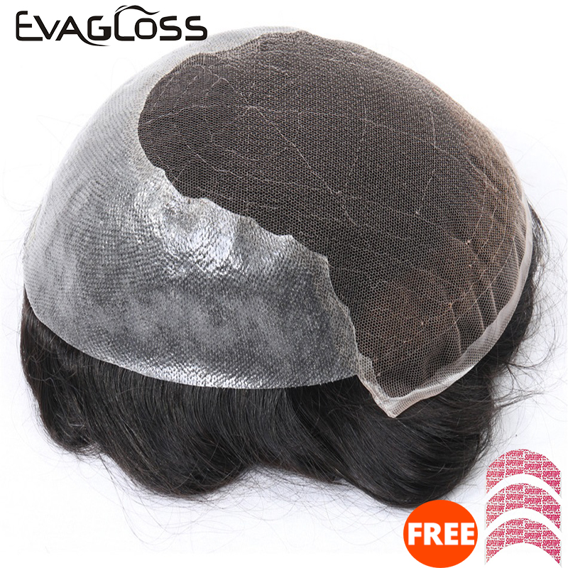 EVAGLOSS Toupee Q6 Base Swiss Lace Thin PU Toupee/Hair Replacement System Natural Hairline Indian Remy Human Hair Men Wig