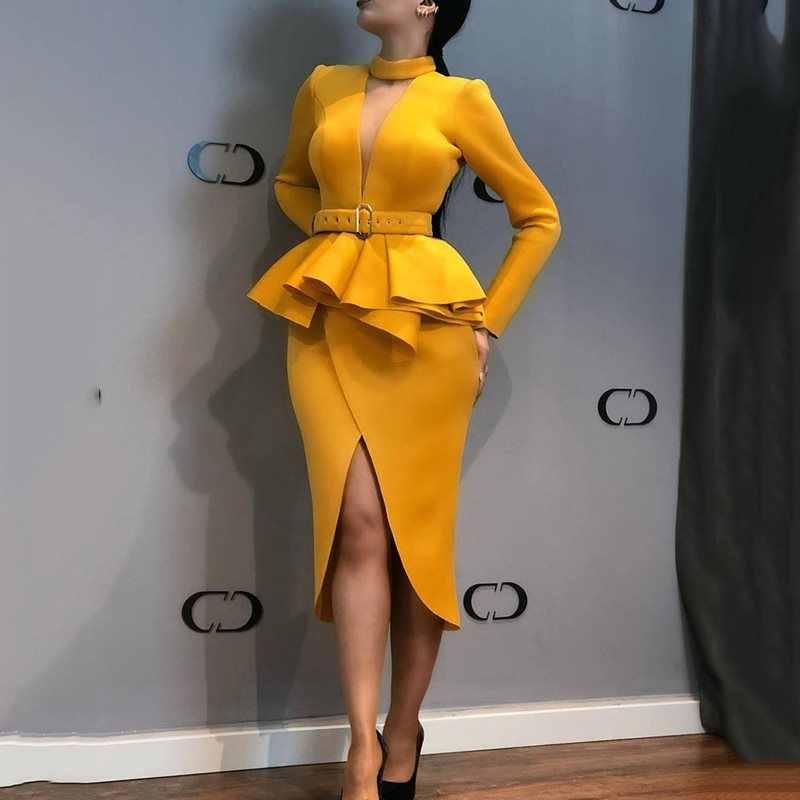 Элегантные вечерние винтажные женские длинные платья в африканском стиле, с v-образным вырезом, с оборками, женское Макси-желтое платье, осень 2019