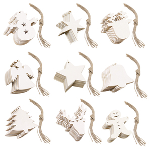 10pcs/lot Unfinished Wood Christmas Ornaments Christmas Wooden Cutouts Embellishments Hanging Ornaments New Year Gift Navidad