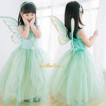 Girls Flower Fairy Dress Up Kids Tinker Bell Fairies Fancy Dress With Wings Child Halloween Princess Costume Elves Party Clothes special girls blue butterfly costume blue fairy costume child fancy dress costumes for kids birthday party fancy dress costume