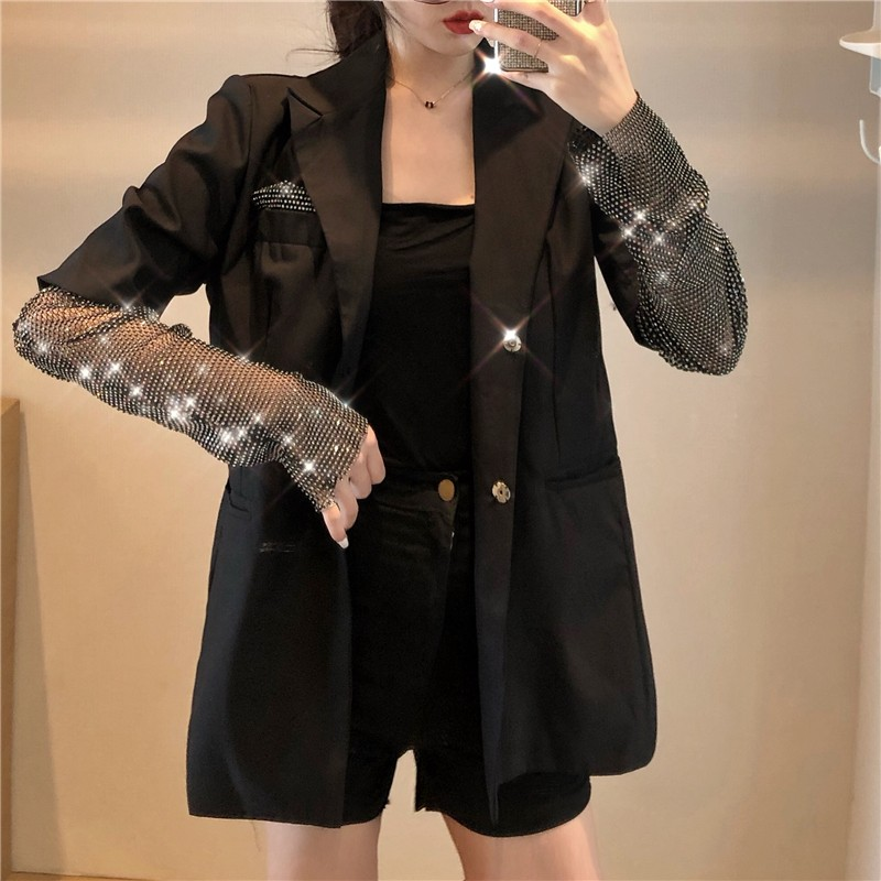 2019 New Autumn Solid Blazer For Women Long Sleeve Diamond Patchwork Long Elegant Coat Female Fashion Women Clothing