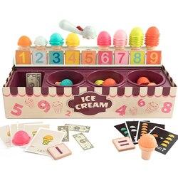 Juguete para aprender Número de helados para niños, educación Montessori, operación matemática, juego de simulación, cajero