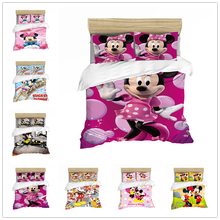 Black and White Cartoon Mickey Minnie Bedding Set Bedclothes Duvet Cover Pillowcase Print Home Textile Bed Linens Children Gift