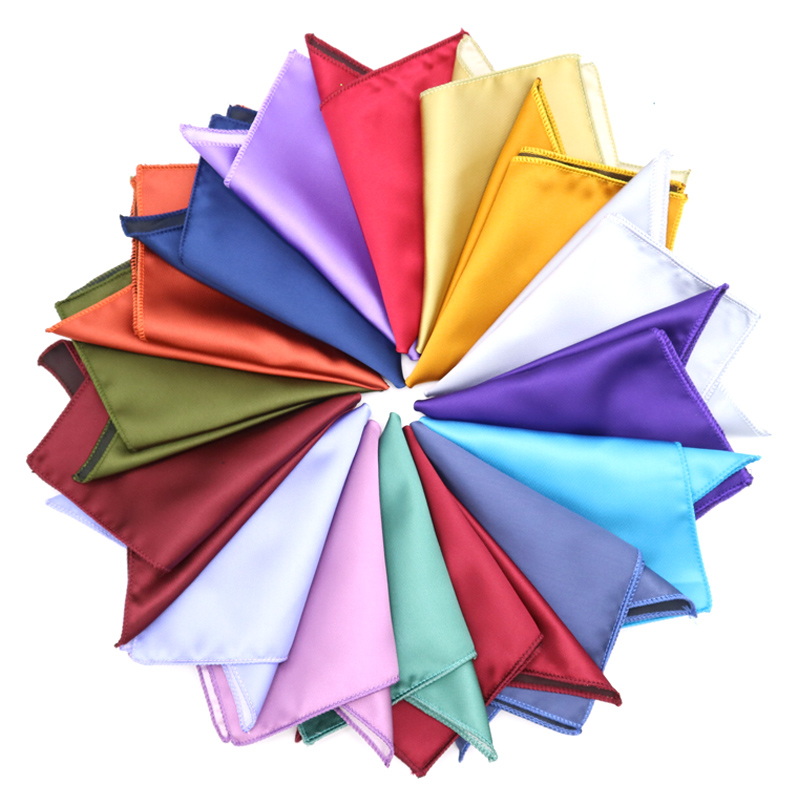 High Quality Men's Hanky Polyester Silk Pocket Squares Solid Color Design Handkerchief Groom Wedding Party Jacquard Chest Towel