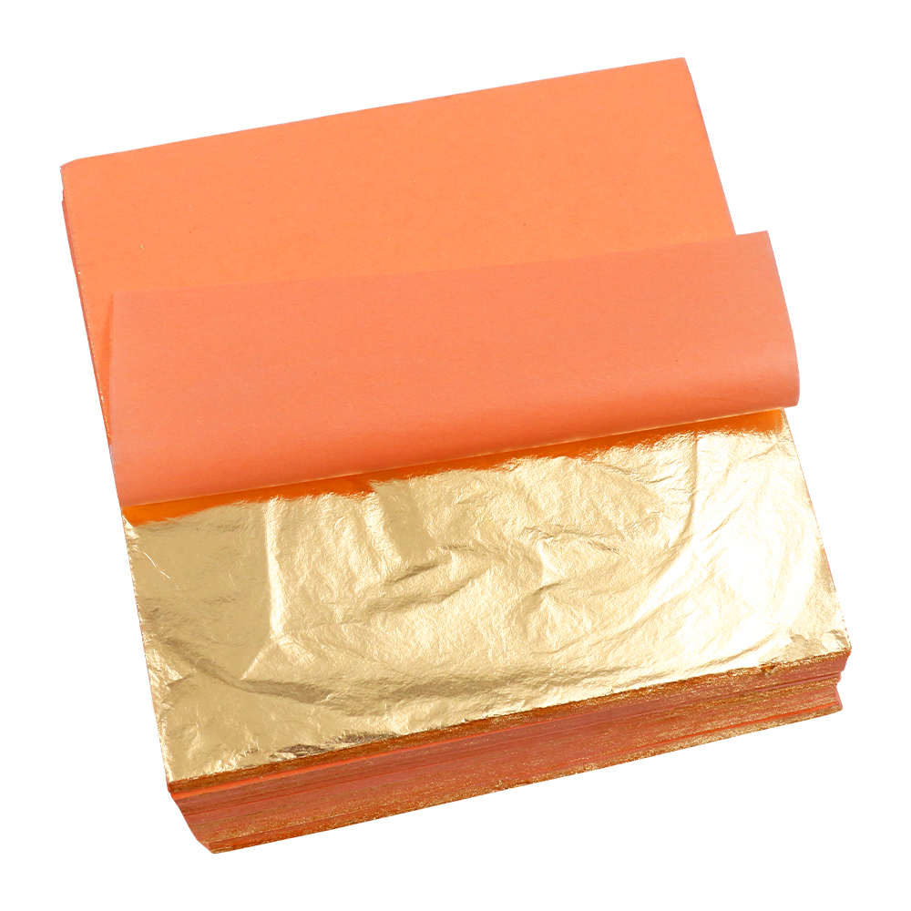 100pc Genuine Copper Metal Leaf Sheet 14cm Leaves Gilded Gilding Decorate Foil