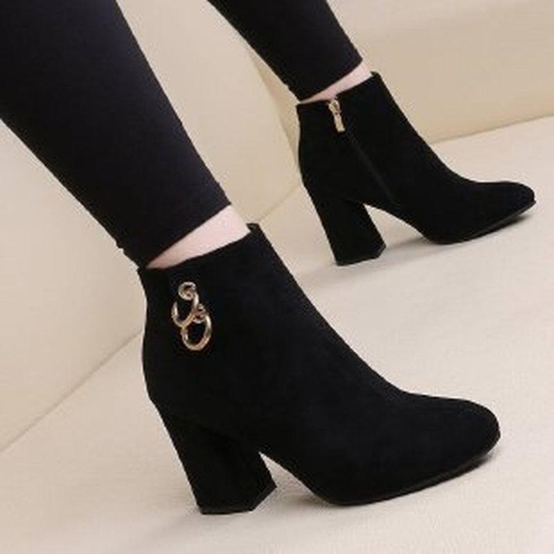 comemore Retro Warm and Velvet Women's Boots Vintage Block Heel Ankle Boots Side Zipper High Heels Women Shoes Big Sizes 35-43