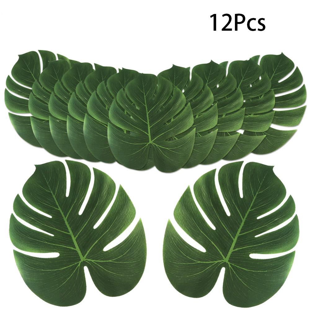 12Pcs Artificial Tropical Palm Leaves For Hawaiian Luau Theme Party Decorations Fake Monstera Leaves Wedding Party Supplies