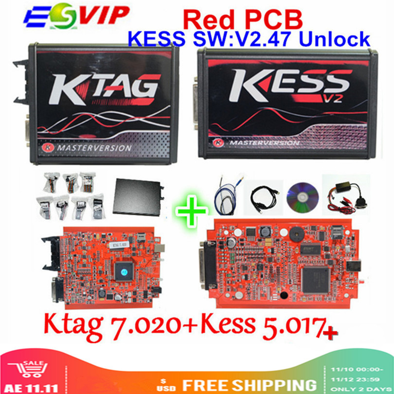 KESSV2 KESS V2 V2.47 V5.017 EU Red ECM Titanium Winols KTAG V7.020 4 LED Online Master Version ECU OBD Car/truck Programmer Tool