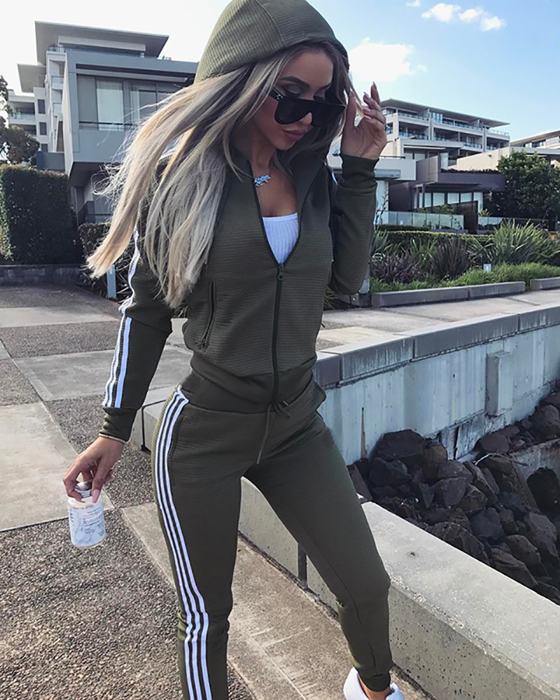 Hot Sale Two Pieces Set Clothing Leisure Sport Suit Hoody Sweatshirt & Pant Tracksuit For Women's Sports Suits Zipper