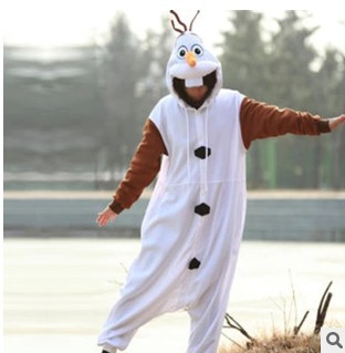 Anime Olaf Snowman Costume Pajamas Cosplay White Jumpsuit Adult Onesie Pyjamas Fancy Costume Hoodies Party Pyjamas