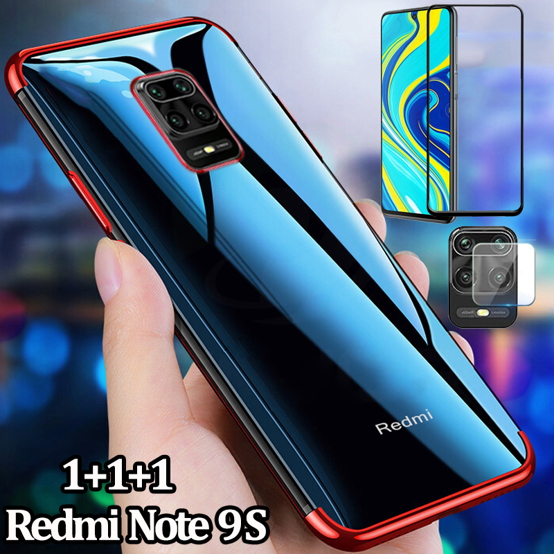 3-In-1 Xiaomi Redmi Note 9S Case + Glass Transparent Cover Soft TPU Material Case Cover For Redmi Note 9 S Case Ultra-Light Ultra-Thin Redminote9s Protective Case Redmi 9S Cute Case