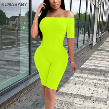 RLMABABY Off Shoulder Short Sleeve Summer Women Playsuit Jumpsuit Skinny Bodycon Romper Overalls Solid Night Club Party