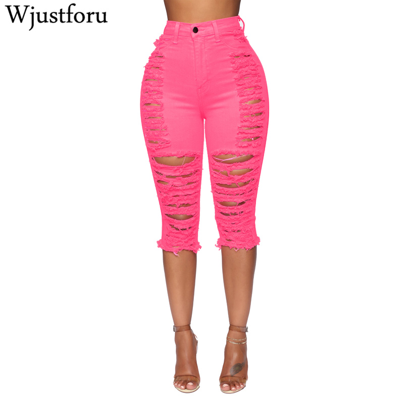 Wjustforu Denim Skinny Hole Jeans For Women Knee Length Capris Pants Femme Pink Sexy Ripped Fashion Bodycon Jeans Vestidos