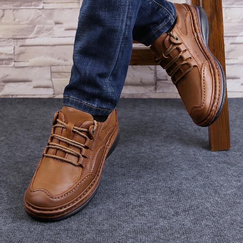 Мужская обувь из натуральной кожи; деловая официальная обувь; 100% дышащие кроссовки из воловьей кожи; обувь для горного туризма; Новинка 2019 года; кожаные кроссовки - 2