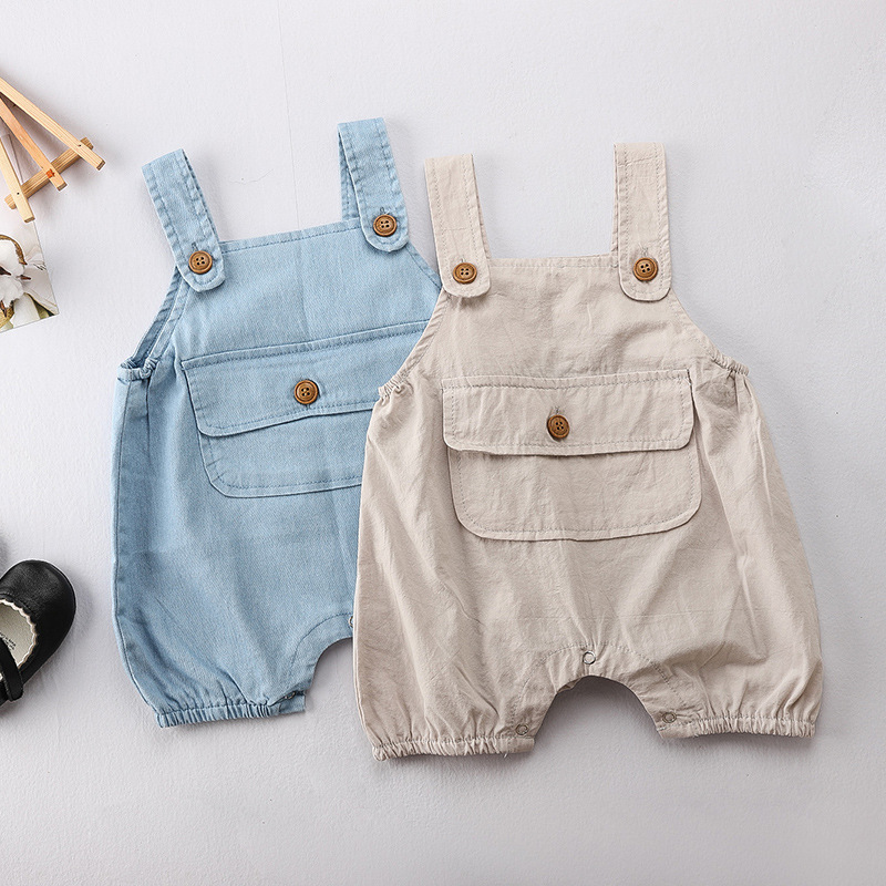 3276 Korean Children's Wear Boys And Girls' Lovely Pocket Baby's Soft Denim Belt Pants Fashion Children Susperder Pants