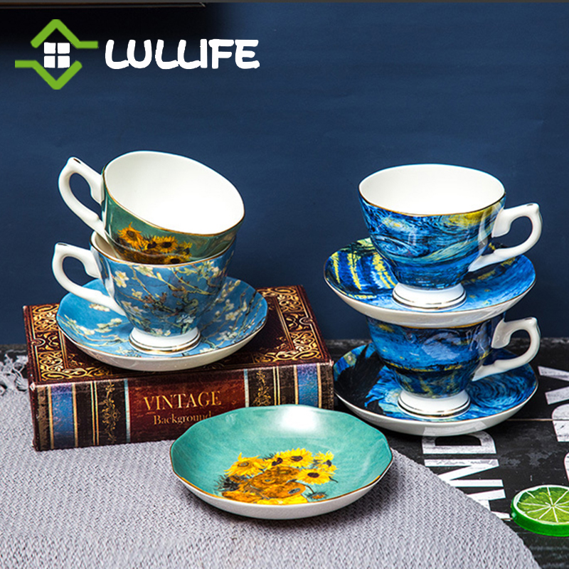 Van Gogh Art Painting Cup Set With Spoon Luxury Bone China Coffee Tea Cups The Starry Night Sunflowers Coffee Mugs Drinkware Set