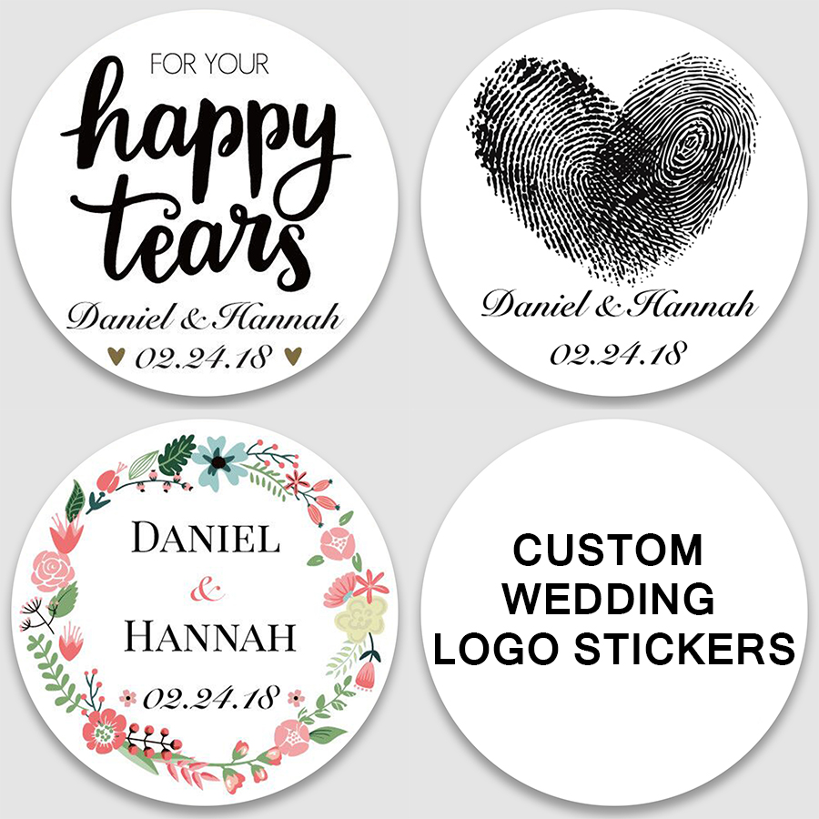 100, Customized Add Your Names And Date, Wedding Stickers, Invitations Seals, Candy Favors Gift Boxes Labels, Custom Logo