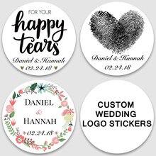 Autocollants de mariage personnalisés 100 pièces | Sceaux à invitation, étiquettes pour boîtes cadeaux à bonbons, logo personnalisé