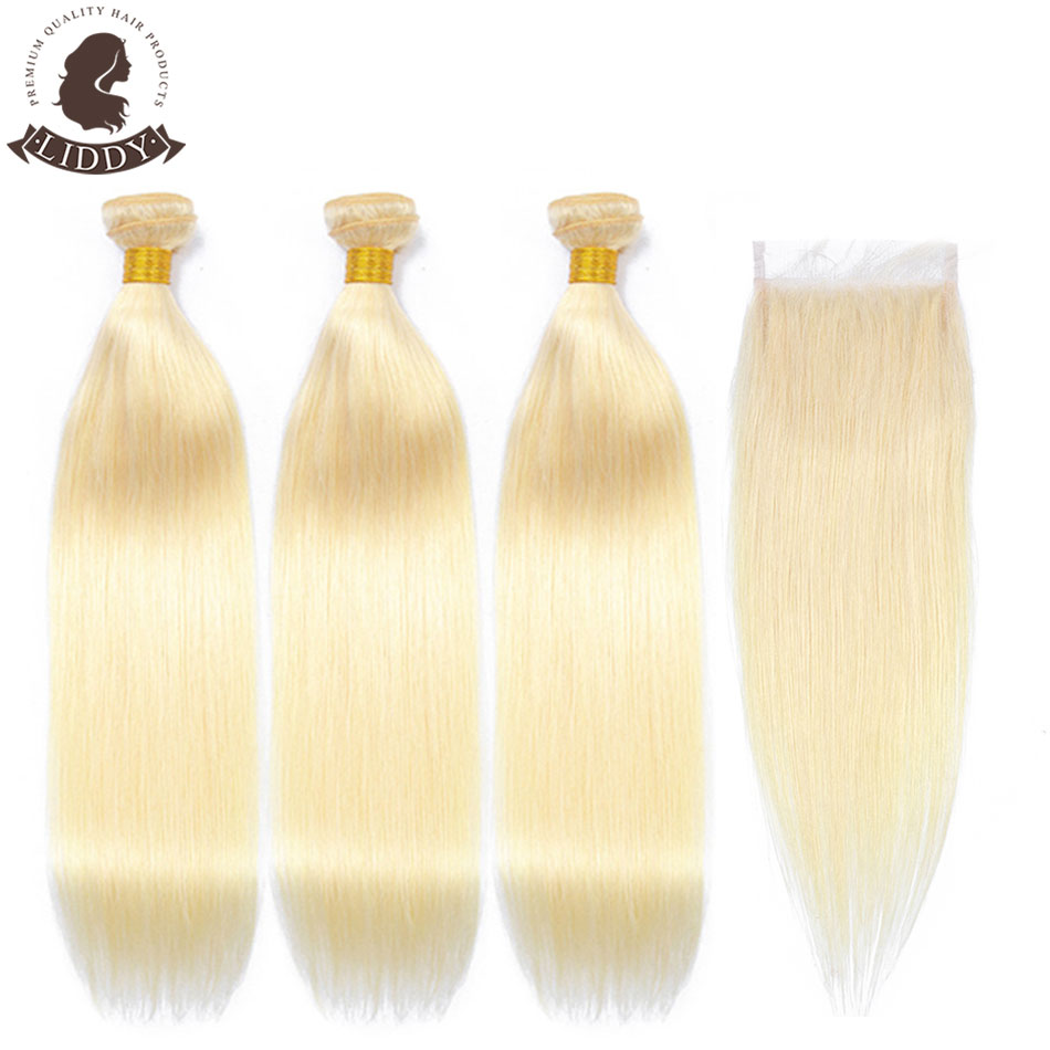 Liddy 613 Blonde Bundles With Closure Malaysian Straight Non-remy Human Hair Weave Bundle 613 Honey Blonde Bundles With Closure image