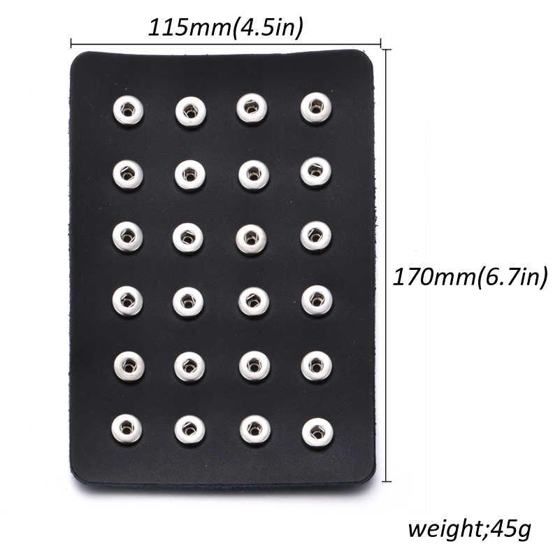 Новое украшение с защелкой черный кожаный оснастки дисплей для 24 шт 18 мм и 12 мм кнопки ювелирные изделия дисплей мягкий держатель дисплея