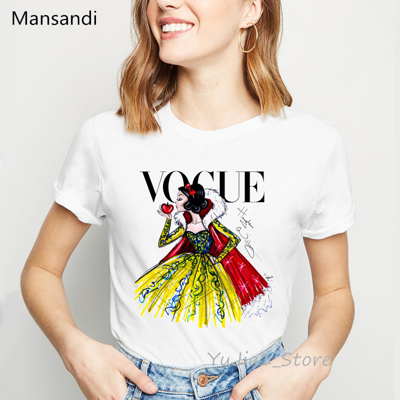 New Arrival 2019 Snow White Princess T-shirt Graphic Tees Women Korean Style Clothes Vogue Tshirt Femme Harajuku Shirt Tops