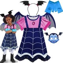 Toddler Vampire Mask Wing Dress for Girls Cartoon Print Princess Dress Kids Children
