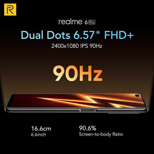 Realme 6 Pro Mobile Phone 6.6inch 90Hz Display 64MP Camra 8GB 128GB Snapdragon 720G Smartphone 4300mAh Battery 30W Flash Charge 6