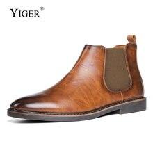 Новинка мужские ботинки челси yiger ботильоны британские джентльменские